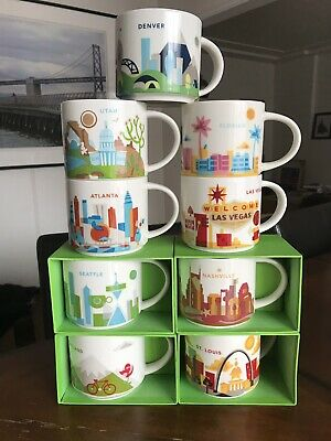 Starbucks You Are Here Coffee Mug Cup 14 Oz Collection Lot Of 9 (4 New/5 Used)