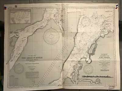 Brazil Para River Navigational Chart / Hydrographic Map # 887, Amazon River