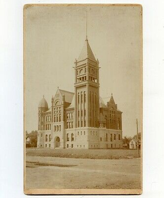 Large c1891 Cab Card Photo of Montgomery County Courthouse, Red Oak, Iowa