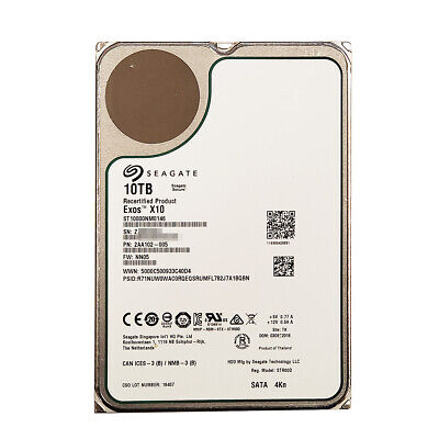 "Seagate ST10000NM0146 10TB 7200 rpm SATA 6 Gb/s 3.5"" Internal Hard Drive"
