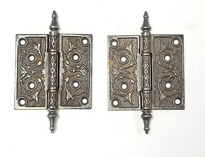 "A42 Antique Cast Iron Ornate Steeple Top Hinges (PAIR) 4"" x 4"""