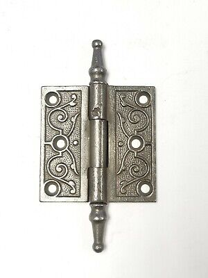 "A33 Antique Cast Iron Ornate Steeple Top Hinge (SINGLE) 2 1/2"" x 2 1/2"""