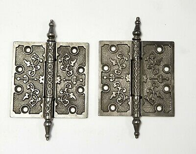 "A34 Antique Cast Iron Ornate Steeple Top Hinge (PAIR) 4 1/2"" x 4 1/2"""