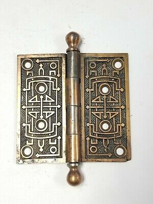 """A31 Antique Brass Ornate Cannonball Hinge (SINGLE) 4"""" x 4"""""""