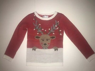Ugly Christmas Youth Girls Knit Sweater Sz Medium 8-10 Reindeer Red Bling