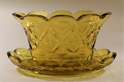 Cut Amber-Yellow Glass Fruit Bowl and Tray, 19th Century