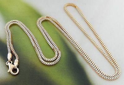"""Italian Gold Overlay Sterling Silver 1.5mm Box Chain 21.5"""" Necklace 692U"""