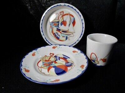 Tiffany & Co.  Seashore  Cup, Bowl & Plate -  Children's Set  Beach  Sailboat