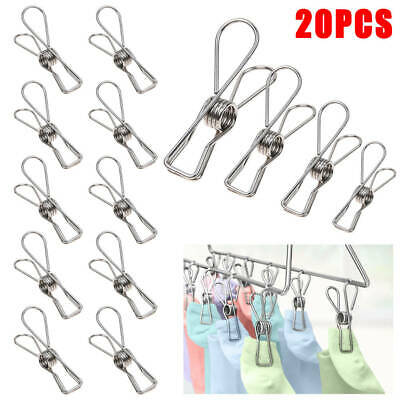 40x Stainless Steel Clothes Pegs Hanging Clips Pins Laundry Windproof