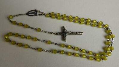 """VTG 26 1/2"""" 5 Decade Catholic Rosary with Pearl Finish Yellow-Chartreuse Beads"""