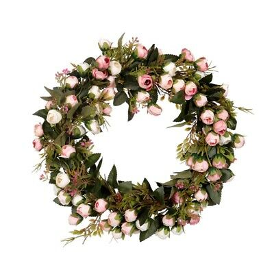 1X(Christmas Flower Wreath Rose Garland With Elegant Best For Home Wall Doo K5Z8