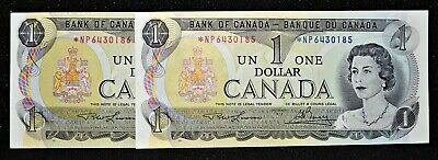 Canada 1973 $1 Consec Pair Asterisk *NP Replacement Notes in GemUnc Condition.