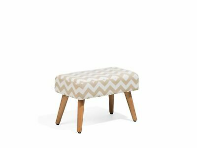 Modern Retro Upholstered Occasional Footstool Wooden Legs Beige Takoma