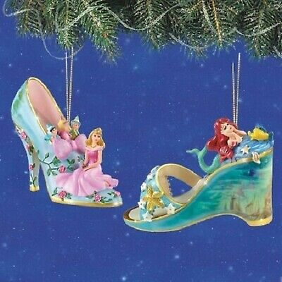 Disney's Once Upon A Slipper Sleeping Beauty and Ariel Figurine Shoe Ornaments