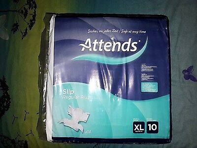 1 x Attends Incontinence Adult Nappy Reg+10 Plastic Back Pad Diaper XL nappy
