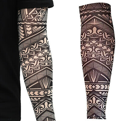 Black Fake Arm Tattoo Sleeve Tribal Maori Body Aztec Polynesian Samoan Hawaiian
