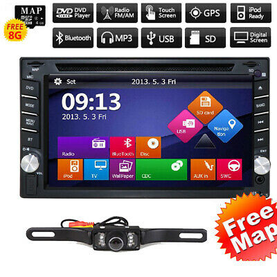 "6.2"" HD Double 2 Din Car DVD GPS Player Radio Stereo Sat Navigation BT+Camera US"