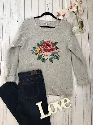 Cath Kidston Size S 12 14 grey chunky knit floral patterned jumper warm cosy