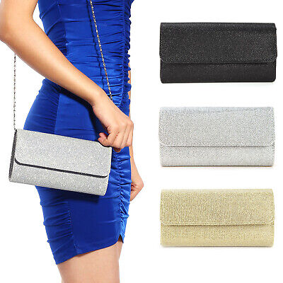 Womens Shimmer Glitter Evening Party Envelope Clutch Bag Party Bridal Handbag