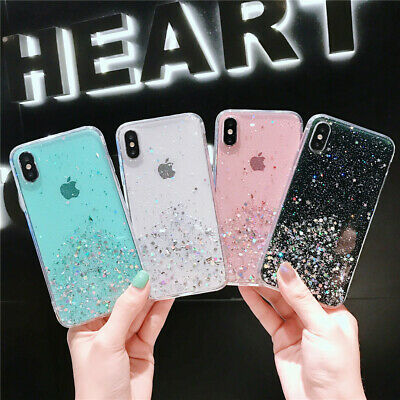 Cute Bling Glitter Sparkly TPU Shockproof Cover Case For iphone 11 Pro Max XR 8