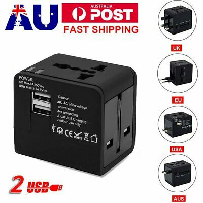 Universal Travel Adapter Power Multi Wall Plug Dual USB Charger Converter Socket