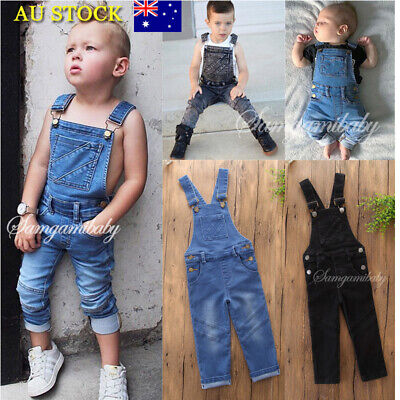 Baby Girl Boys Kids Denim Bib Jeans Long Pants Suspender Overall Outfits Clothes