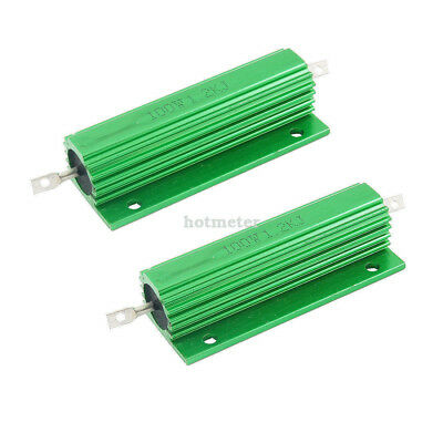 H● 2* 100W 1.2Kohm Green Aluminum Housed Wirewound Resistors.