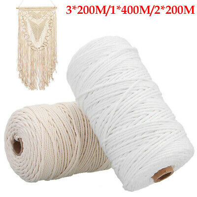 AU 200M 3mm Macrame Rope Natural Beige Cotton Twisted Cord Artisan Hand Craft