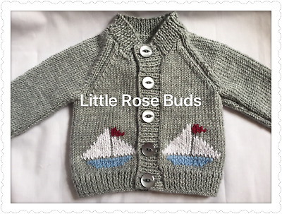 Hand Knitted Baby Boys Grey Cardigan N/B