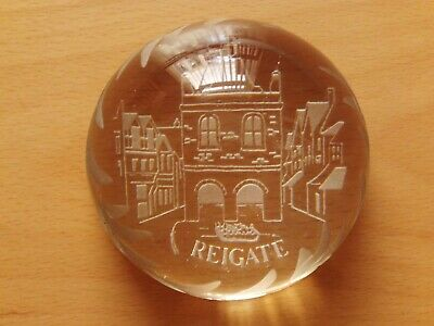"Vintage Edinburgh Crystal ""Reigate"" Dome Shape Paperweight."