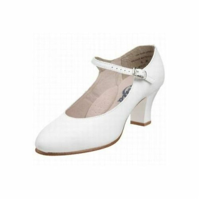"""White capezio footlight 1.5"""" heel character/stage dance shoes (550) - Child 12.5"""