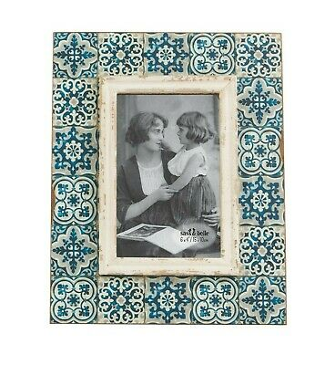 Mediterranean Mosaic Blue Photo Frame Vintage Picture Antique Rustic 6x4""