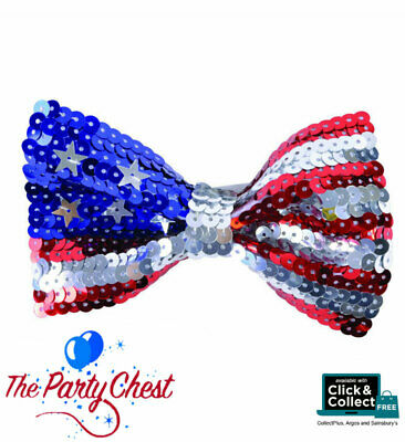 RED WHITE AND BLUE SEQUIN STARS & STRIPES USA BOW TIE Costume Party Accessory