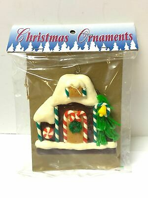 Vintage Ceramic House With Tree Christmas Ornament New