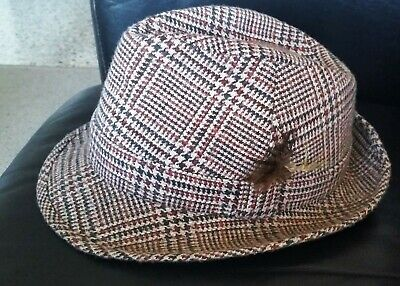 Hodges tweed trilby hat made in UK size 56 excellent condition