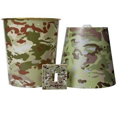 Boys Army 3 Piece Camouflage Bedroom Set Light Shade Bin Light Cover Kids Decor