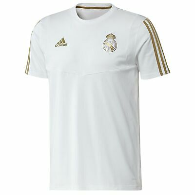 adidas Official Mens Real Madrid Football Training T-Shirt Top Tee White