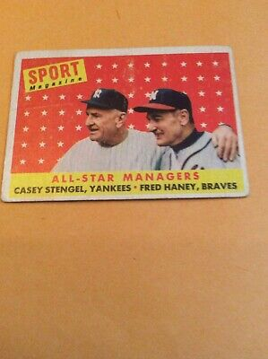 New York Yankees 1958 Topps #475 All-Star Managers Casey Stengel Fred Haney