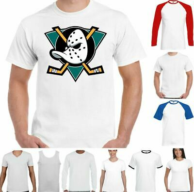The Mighty Ducks Funny T-Shirt Ice Hockey Top Movie Film Stick Puck Helmet Pads