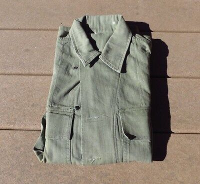 1940s US Army WWII HBT Cotton Utility Shirt sz 36R 40s WW2 Jacket Military Minty