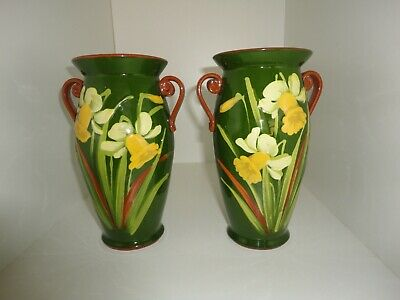 """A PAIR of WATCOMBE  """"DAFFODILS""""   VASES   ART  DECO"""