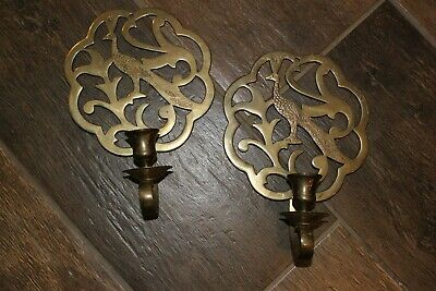 Vintage PAIR Solid Brass PEACOCK Wall Mount Taper Candle Holder Sconces! VGUC!
