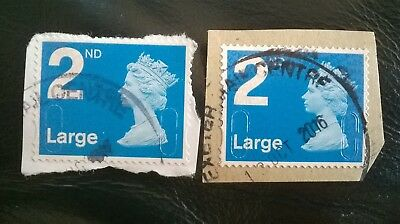 2 Error/Variety Gb Used Machin Blue 2Nd Large Letter Ma12 Mfil Stamps Overlay