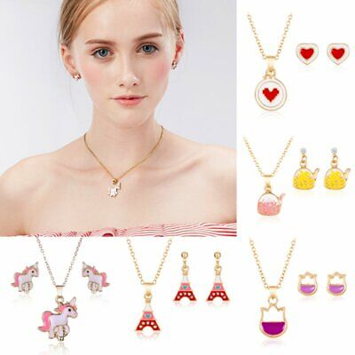New Fashion Jewelry Sets For Women Girl Cartoon Earrings Necklaces for Kid Gifts