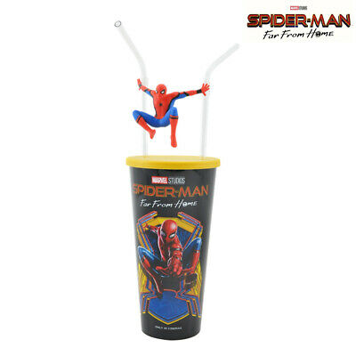 Spider Man Far From Spider-Man Swinging Doll Cup 2-Straws Movie Exclusive Cinema
