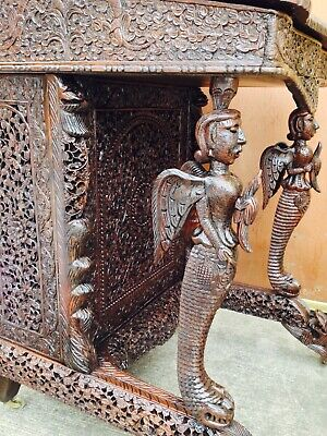 Amazing 19th C. Anglo Indian Pierced Carved Rosewood Davenport/Captains Desk