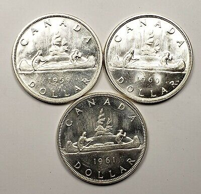 Canada 1959 1960 1961 Silver $1.00 One Dollar Coin Lot Of 3