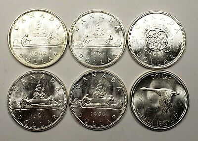 Canada 1962 1963 1964 1965 1966 1967 Silver $1.00 One Dollar Coin Lot Of 6