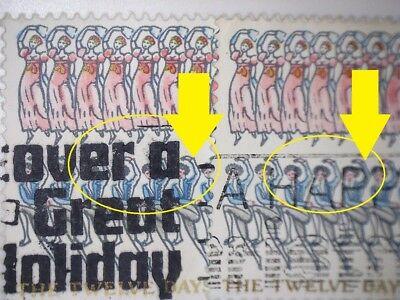 2 Gb Error/Variety Used 7P Xmas 12 Lords 1977 Sg1048 Stamps  Blue Shift On Arm