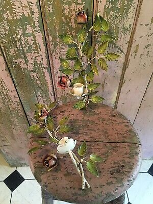 Adorable Pair Of Italian Tole Sconces Pink Roses Chippy Paint Shabby Garden #H